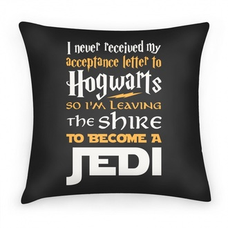 home accessory hogwarts pillow hogwarts letter harry potter may the force be with you i never received my letter from hogwarts so i left the shire to become a jedi harry potter hogwarts hogwarts hogwarts logo jedi star wars nerdy star wars love harry potter