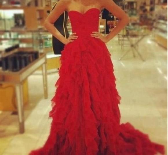 ruffles red dress elegant dress prom formal dress sweetheart neckline strappless