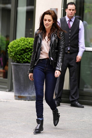 coat leather kirsten stewart leather jacket indie