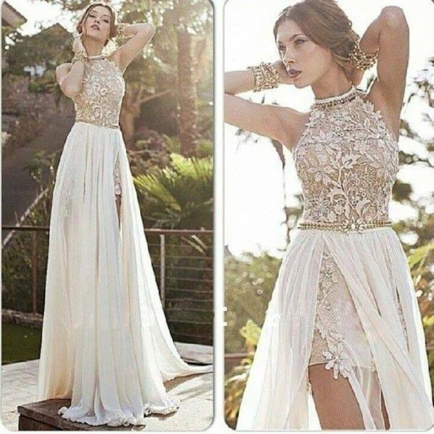 Diyouth.com sexy halter side slit white chiffon beaded appliques lace prom dresses, open back evening dresses, backless evening dresses ,cocktail …