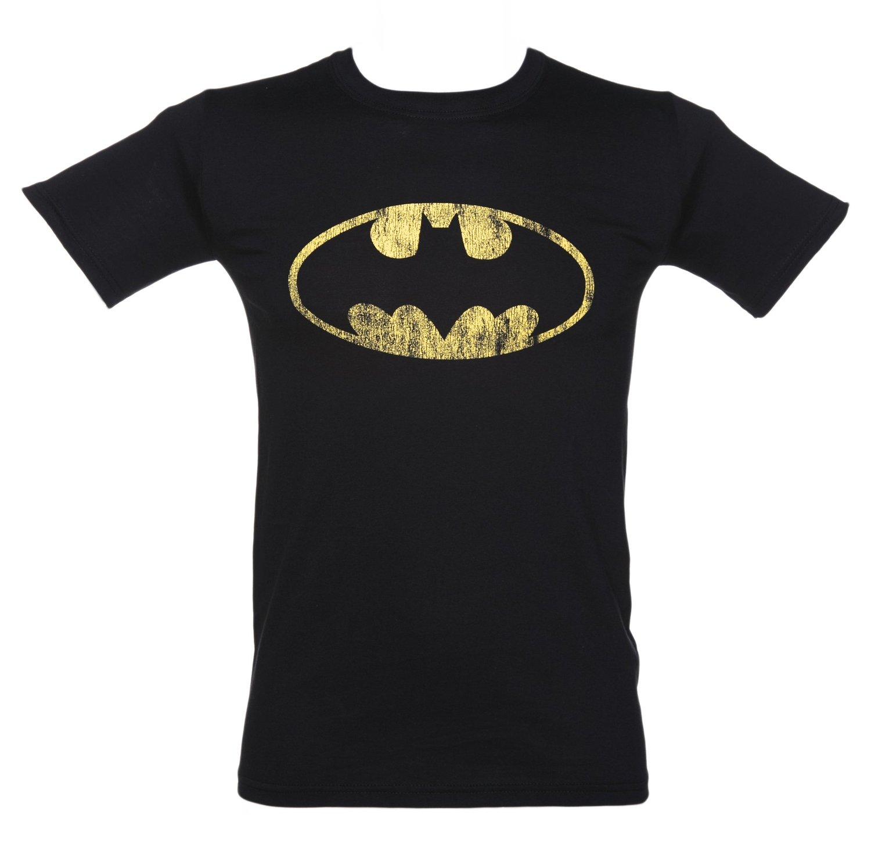 Mens Black Distressed Batman Logo T Shirt at Amazon Men's Clothing store: