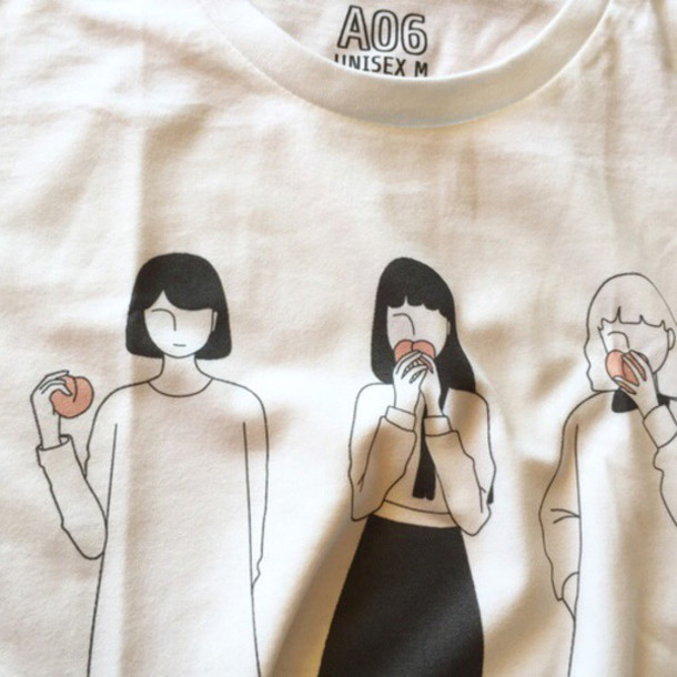 sweater girl guys a06 clothes grunge drawing peach pale fashion pretty white black orange unisex sweatshirt tees_shops tees shops t-shirt aestetic alternative graphic tee t-shirt shirt