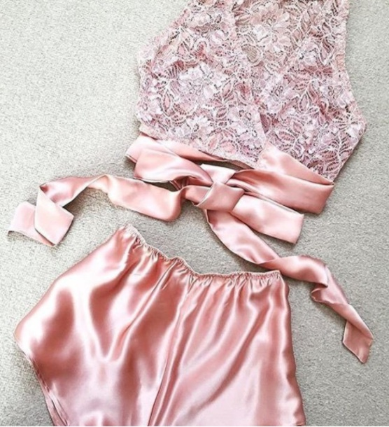shorts girly pink two-piece lace lace top lingerie