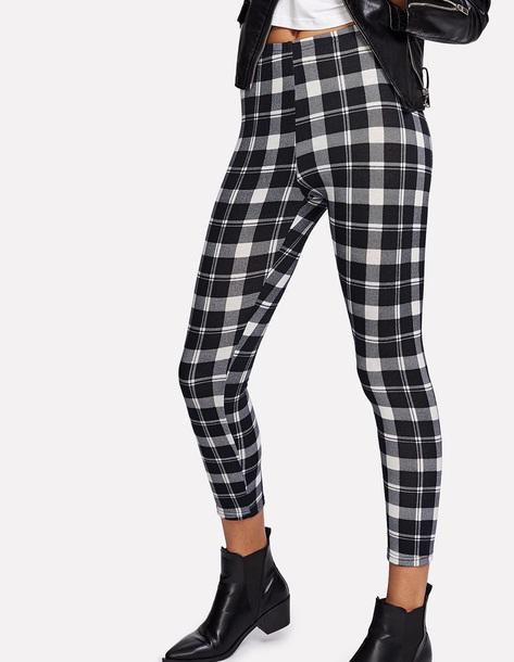 3d94506aef29b pants girly black black and white checkered checkered pants leggings