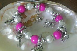 jewels charms bracelets pearls charm bracelet pink bracelets
