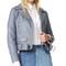 Acne studios mock leather moto jacket - dirty slate blue