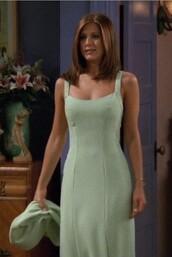 dress,green dress,90s style,nineties style,jennifer aniston,friends,friends TV show,rachel green