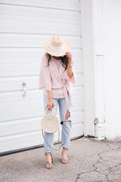 fashionably kay,blogger,blouse,jeans,shoes,hat,sunglasses,jewels,bag,round bag,straw bag,spring outfits,sandals