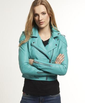 jacket superdry karma green bikerjacket leather green