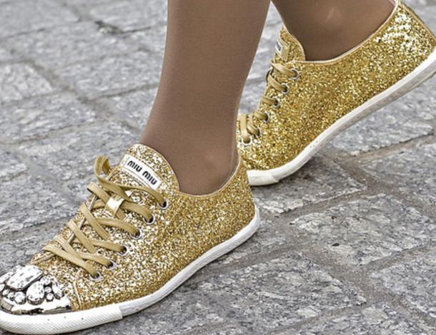 shoes, sneakers, gold, miu miu - Wheretoget