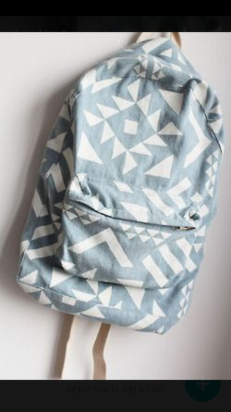bag denim blue and white denim bag backpack bookbag school cute bag blue white book