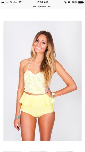 swimwear bikini yellow summer beach fashion style peplum high waisted straps sweetheart top