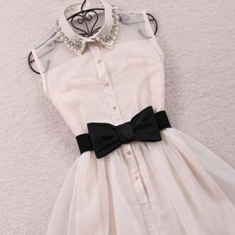 dress white dress sheer black bow