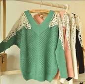 sweater,fashion,jullnard,autumn/winter,clothes,pink,ivory,green,colorful,girly,cute,lace,black,knitwear,cardigan,outfit,Choies