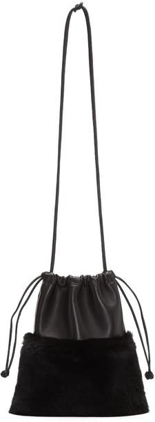 Alexander Wang mini fur clutch black bag