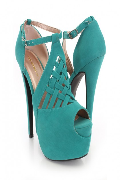 Seagreen Faux Leather Caged Peep Toe Platform Heels @ Amiclubwear Heel Shoes online store sales:Stiletto Heel Shoes,High Heel Pumps,Womens High Heel Shoes,Prom Shoes,Summer Shoes,Spring Shoes,Spool Heel,Womens Dress Shoes,Prom Heels,Prom Pumps,High Heel S
