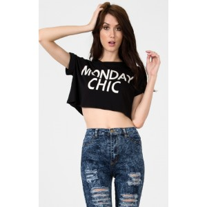 Black Monday Chic Tee Crop Top |  MakeMeChic.com