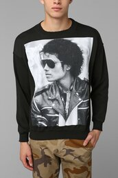 sweater,fashion,michael,jackson,jumper,windsheeter,top,black and white,black,white,image,clothes,michael jackson,mens sweater,sweatshirt