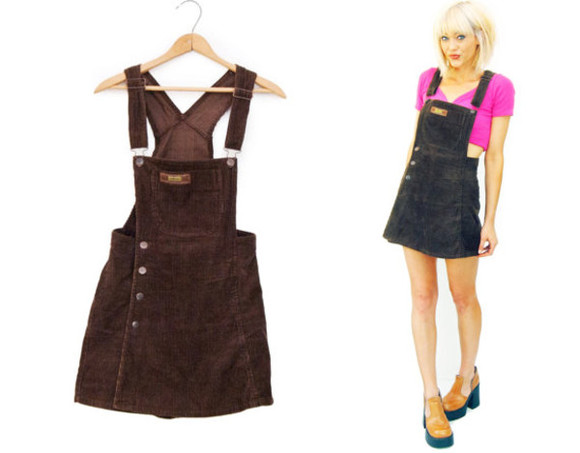corduroy vintage dress overalls mini skort 90s style