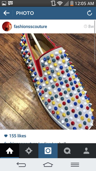 shoes spiked shoes spikes multicolor sneakers white