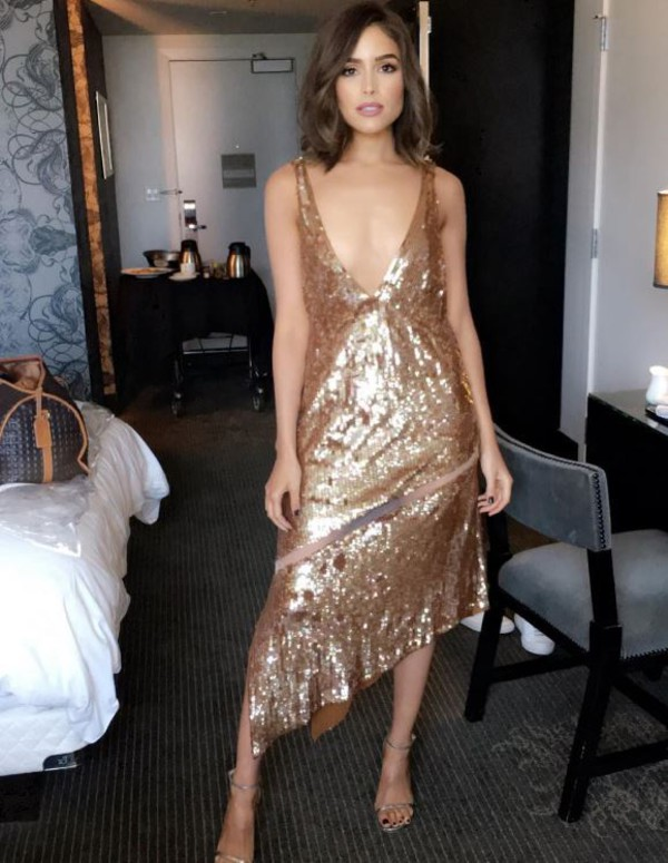 dress sequins sequin dress gown prom dress olivia culpo sandals asymmetrical dress asymmetrical plunge dress plunge v neck instagram shoes