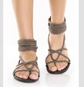 shoes,sandals,holidays,brown shoes,open toes,rope,summer shoes,beach,beach sandals,womens shoes,hipster,country,hippie,tribal pattern,hippie chic,hippie shoes,strapse,strappy sandals,grey,flat sandals