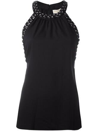 blouse sleeveless women embellished black top