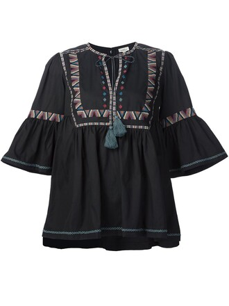 tunic embroidered black top