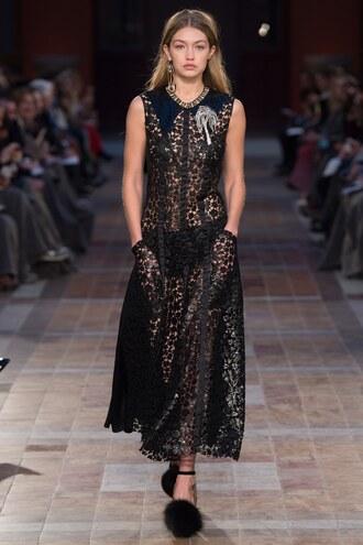 dress lace dress midi dress fashion week 2016 paris fashion week 2016 gigi hadid underwear sonia rykiel runway model
