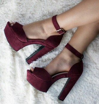 shoes heels pink suede chunky open toe heels burgundy