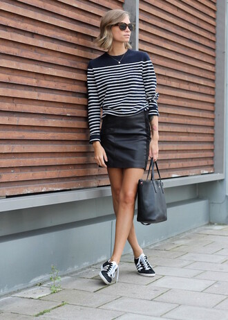 shoes sunglasses blue striped sweater leather pencil skirt black adidas sneakers blogger
