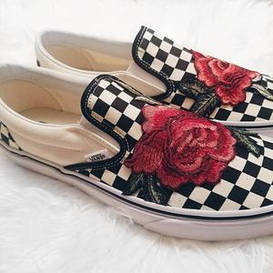 bba31e64eef02 Checkerboard Slip On Custom Rose Vans