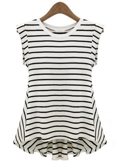 Black White Striped Sleeveless Loose T-Shirt - Sheinside.com