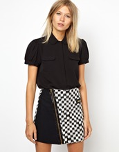 skirt,mini skirt,black,white,aztec,zipped skirt,monochrome skirt