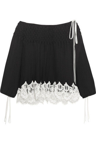blouse chiffon blouse chiffon lace black top