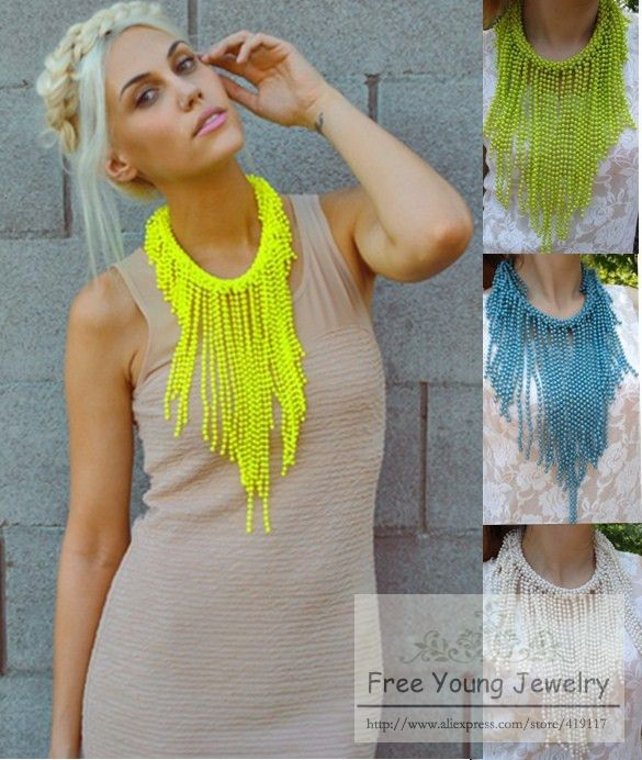 2013 New Hot Neon yellow statement limited candy color long bead tassel Collar Personality Punk necklace free shipping-inChoker Necklaces from Jewelry on Aliexpress.com
