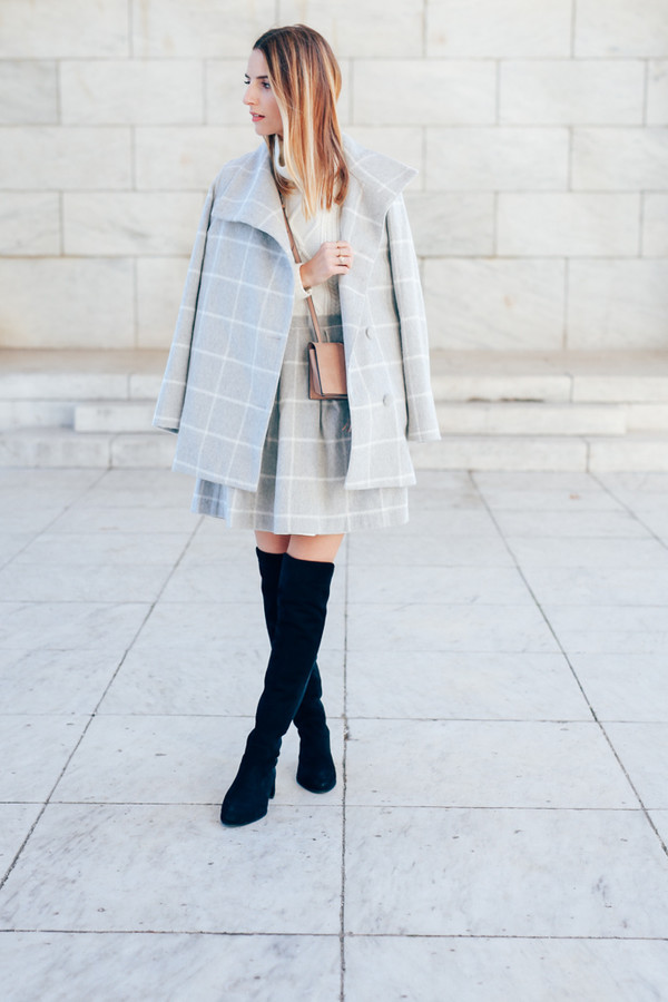 prosecco and plaid blogger grid grey skirt grey coat suede boots black boots