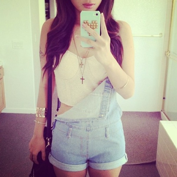 shirt bralette outfit shorts tan dungarees necklace short overalls cross necklace jewels
