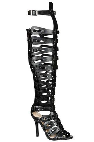 Xena Gladiator Heels - Black (PRE-ORDER) | Klassiq
