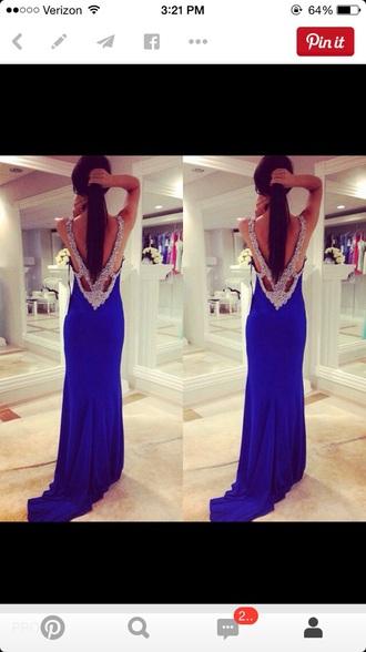 dress prom dress prom backless dress royal blue dress