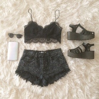 top lace lace top lace bra crop tops croppped black black lace outfit vogue dealsforyou crochet floral flowers print foral print bra bh calvin klein underwear bralette boho bohemian summer summer oufit tumbr tumblr outfit vintage hipster grunge lovely coachella shorts shoes