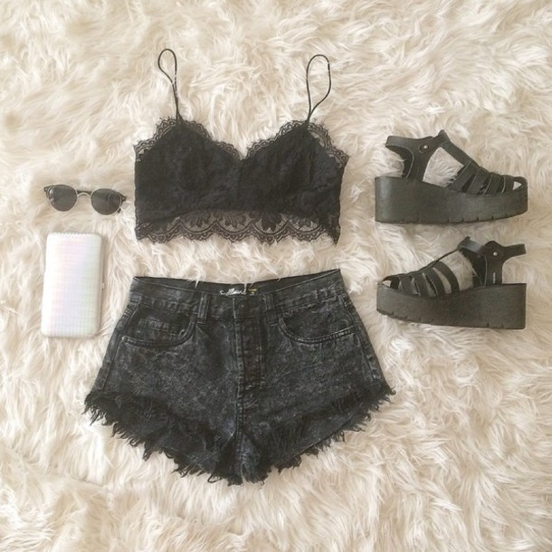 9cf03b2216 top lace lace top lace bra crop tops crop tops croppped black black lace  outfit vogue