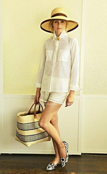 olivia palermo shoes shorts blouse