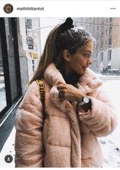 jacket,pink,rose,fake fur jacket