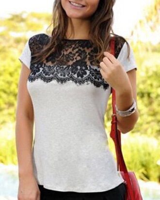 top shirt lace summer casual style girly black grey fashion outfit