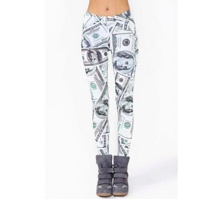 100 Dollar Benjamin Franklin Money Print Leggings