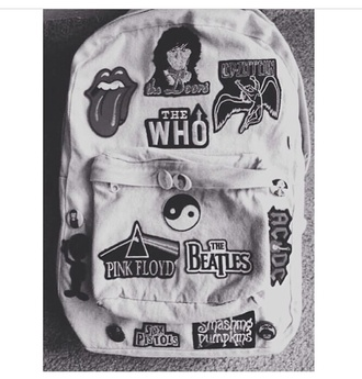 bag band backpack 80s style 90s style 90s grunge girly grey patch denim the rolling stones rolling stones crop tank top the who cool goth pastel goth grunge make-up jewels jumpsuit