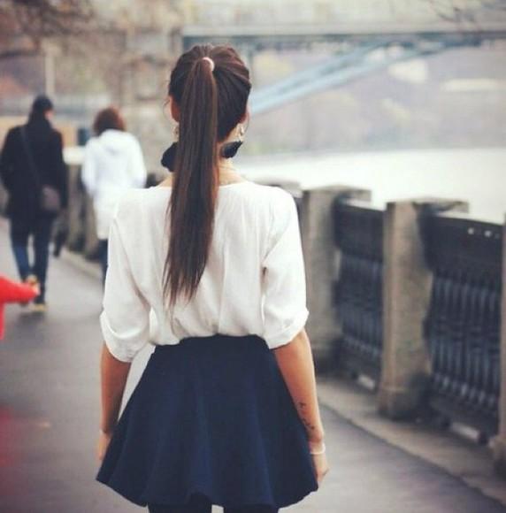 black skirt blouse