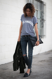 alterations needed,blogger,jeans,shoes,bag,jewels,belt,quote on it,blue top,clutch,skinny jeans,ripped jeans,suede jacket,flats,black flats