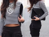 top,stripes,style,classy,necklace,jewels,summer outfits,white crop tops,black and white,striped shirt,streetwear,streetstyle,silver,diamonds,winter sweater,winter outfits,skinny pants,denim shirt,bag